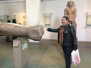 Fist Bumping a random arm from an Ancient Egyptian statue at the British Museum
